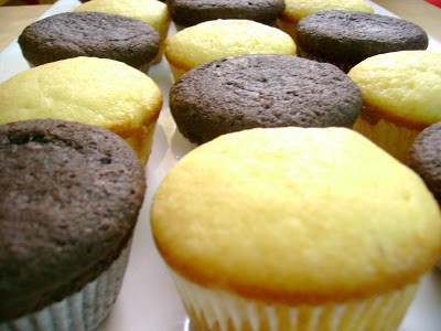 Mosaic of Chocolate and Vanilla CupCakes