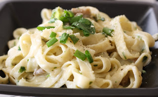 Fettuccine Alfredo with mushrooms and broccoli and healthy too!