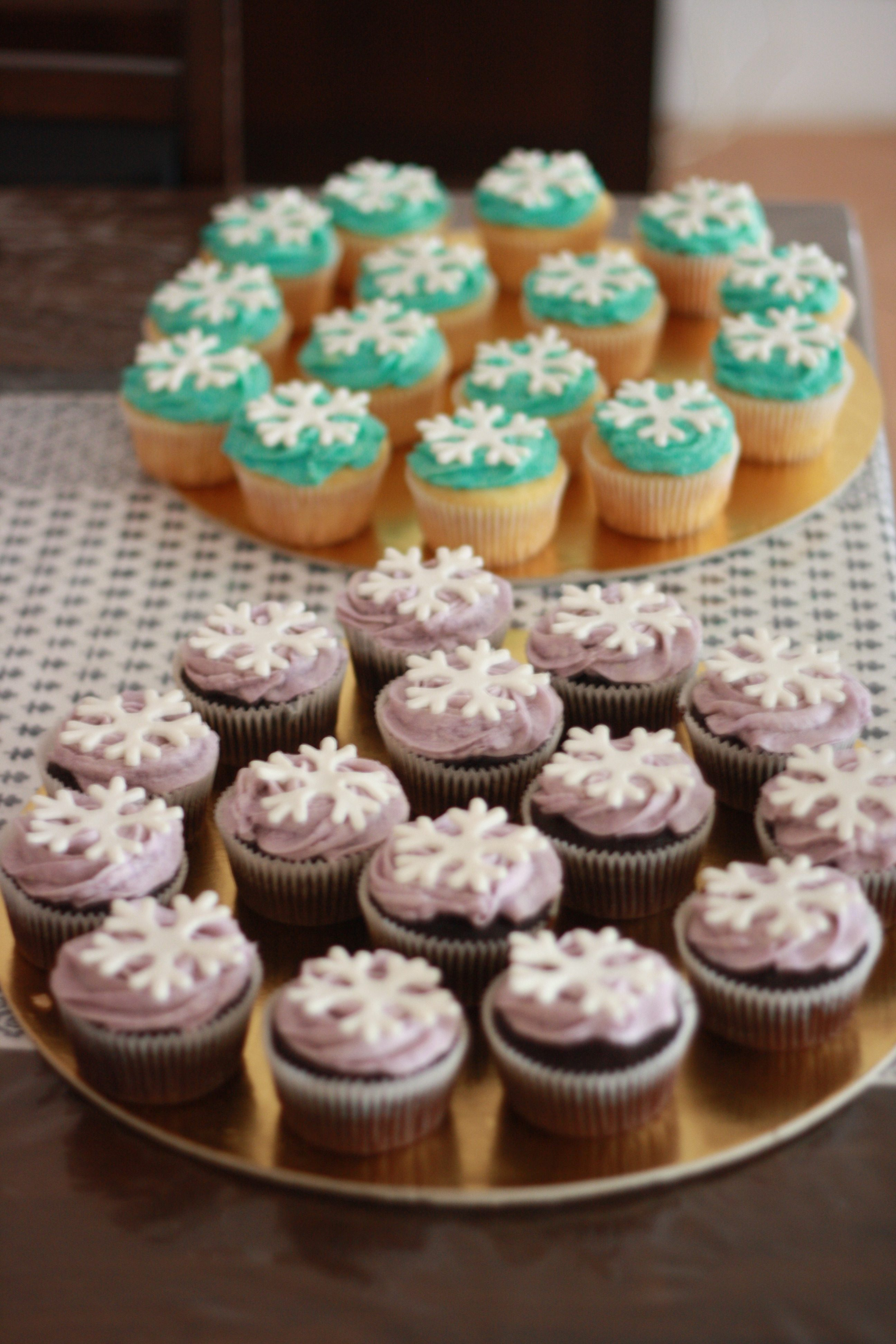 homemade cupcakes with snowflake toppers
