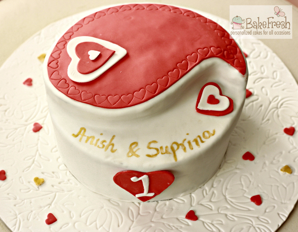 personalize anniversary cake for anish and suprina
