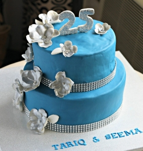 customize blue anniversary cake for tariq & seema 25th anniversary
