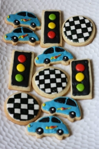 traffic lights and cars themed cookies