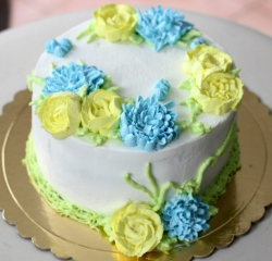 yellow & blue floral white personalized gourmet cake