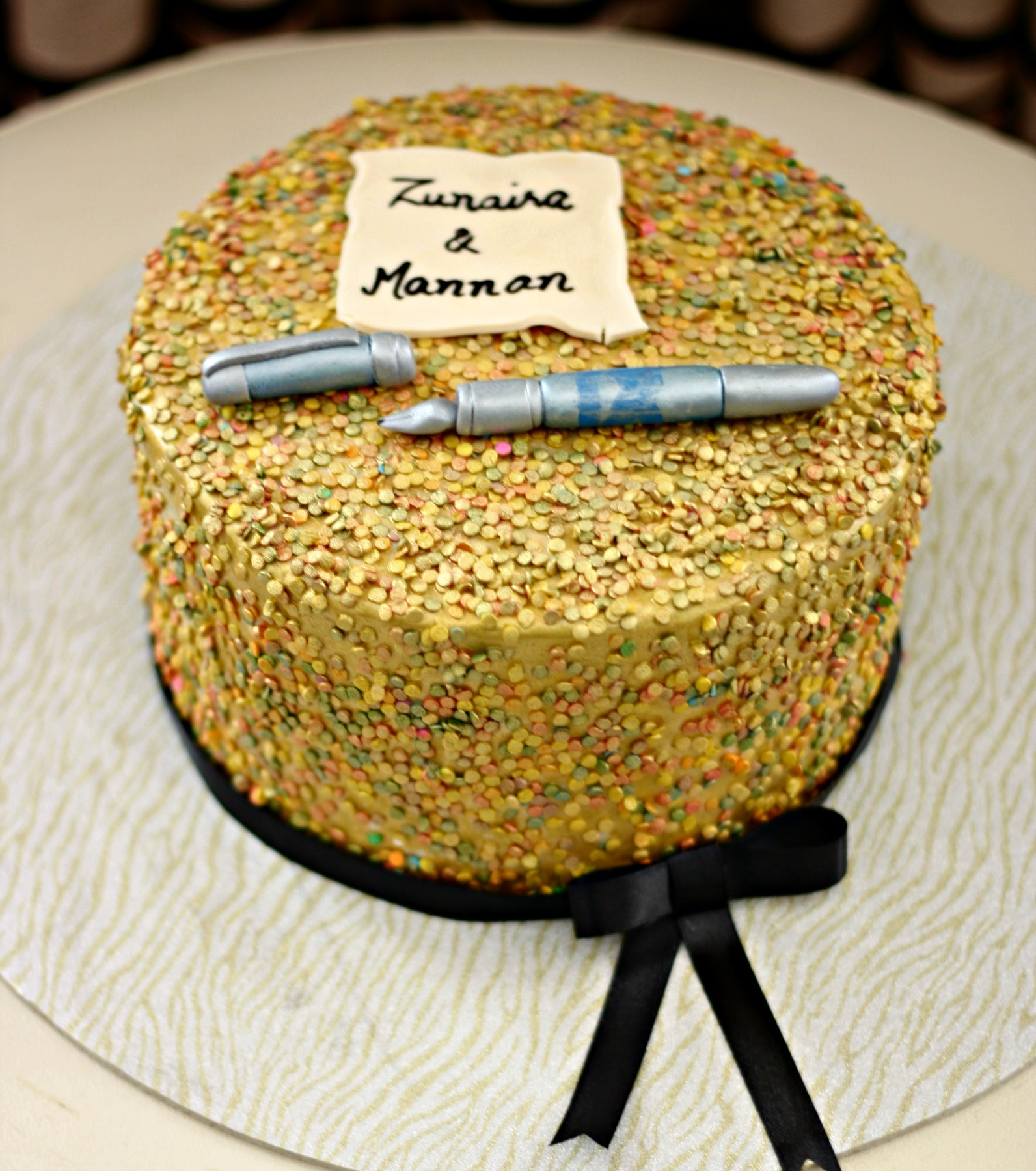 personalized anniversary cake for zunaira & mannan