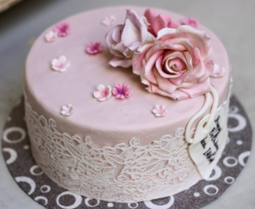 customize pink with rose on top anniversary cake