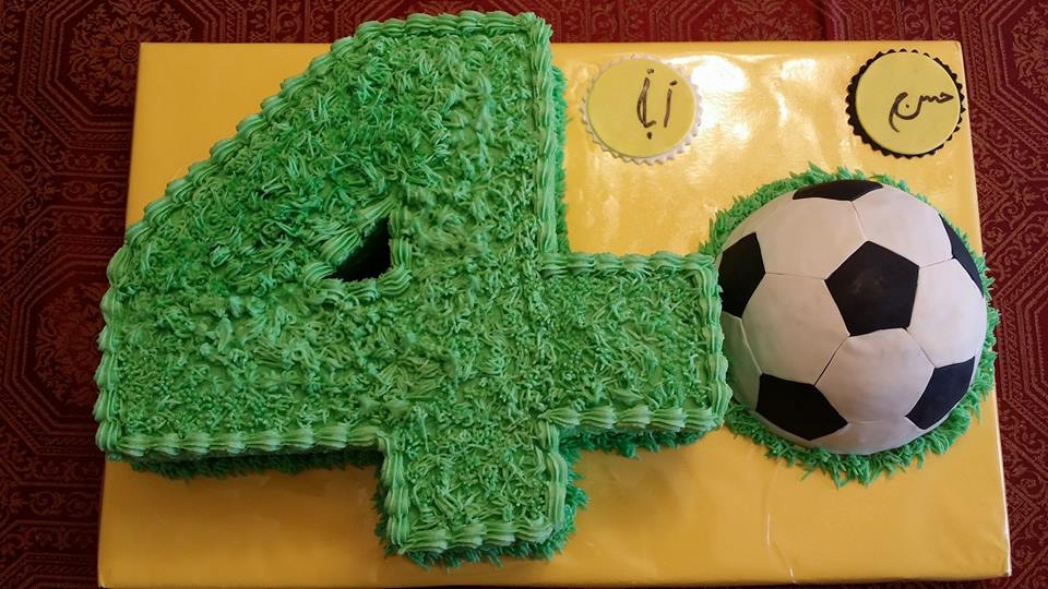 number four soccer themed birthday cake