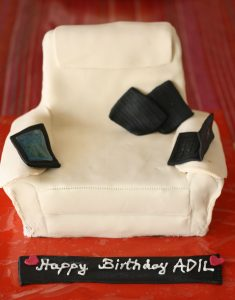 customized white sofa themed birthday cake