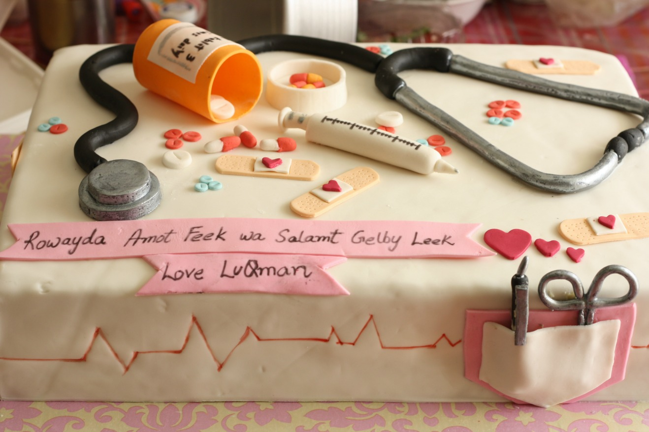 homemade medical theme birthday cake designed