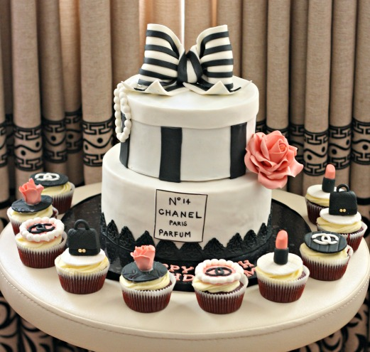 chanel parfum themed birthday cake