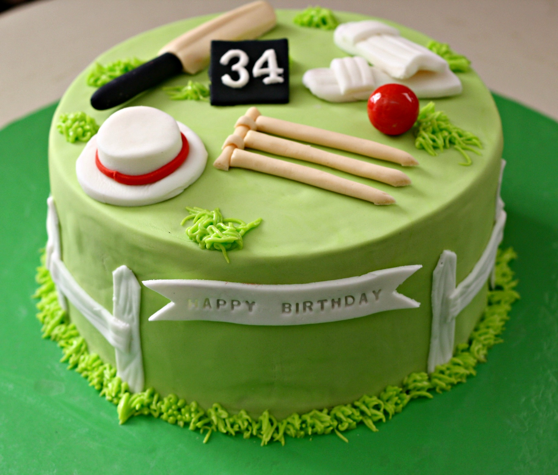 personalized 34th yellow green birthday cake