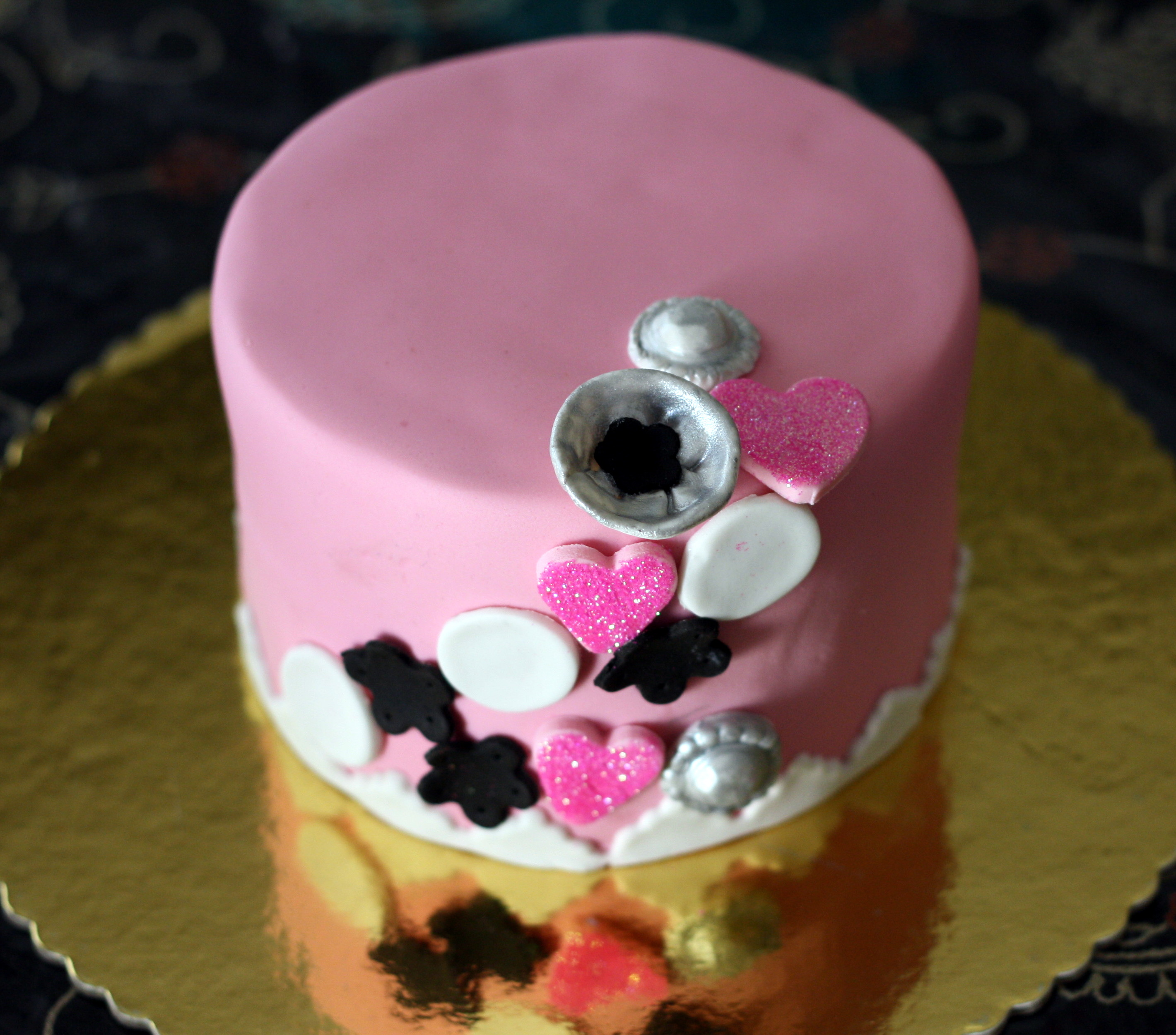homemade pink birthday cake