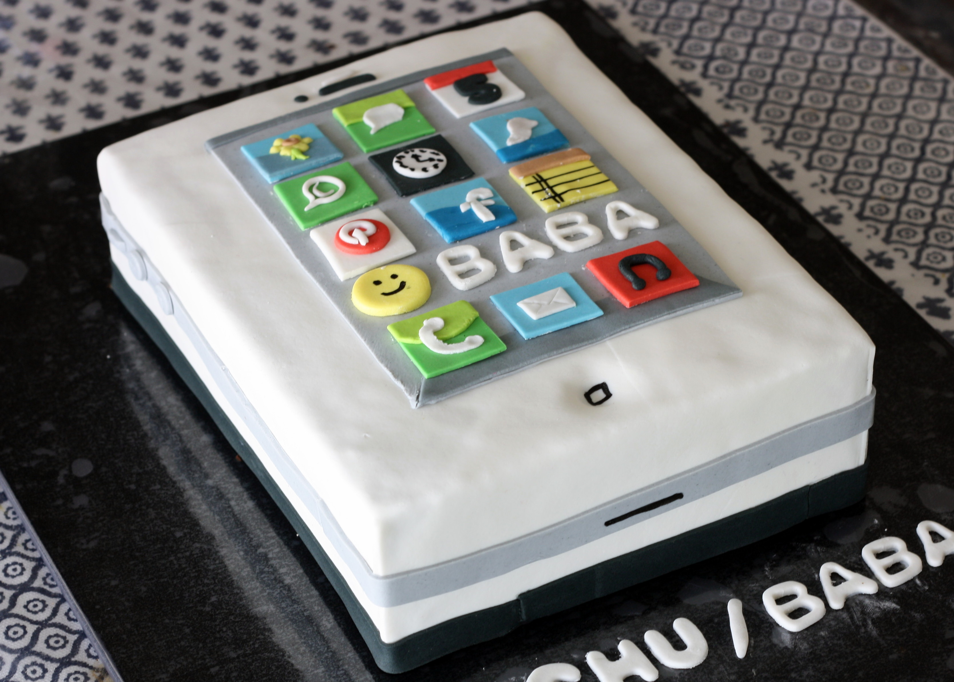 personalized birthday cake social media icons design for baba