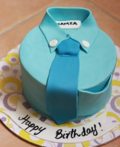 customized blue polo with tie birthday cake