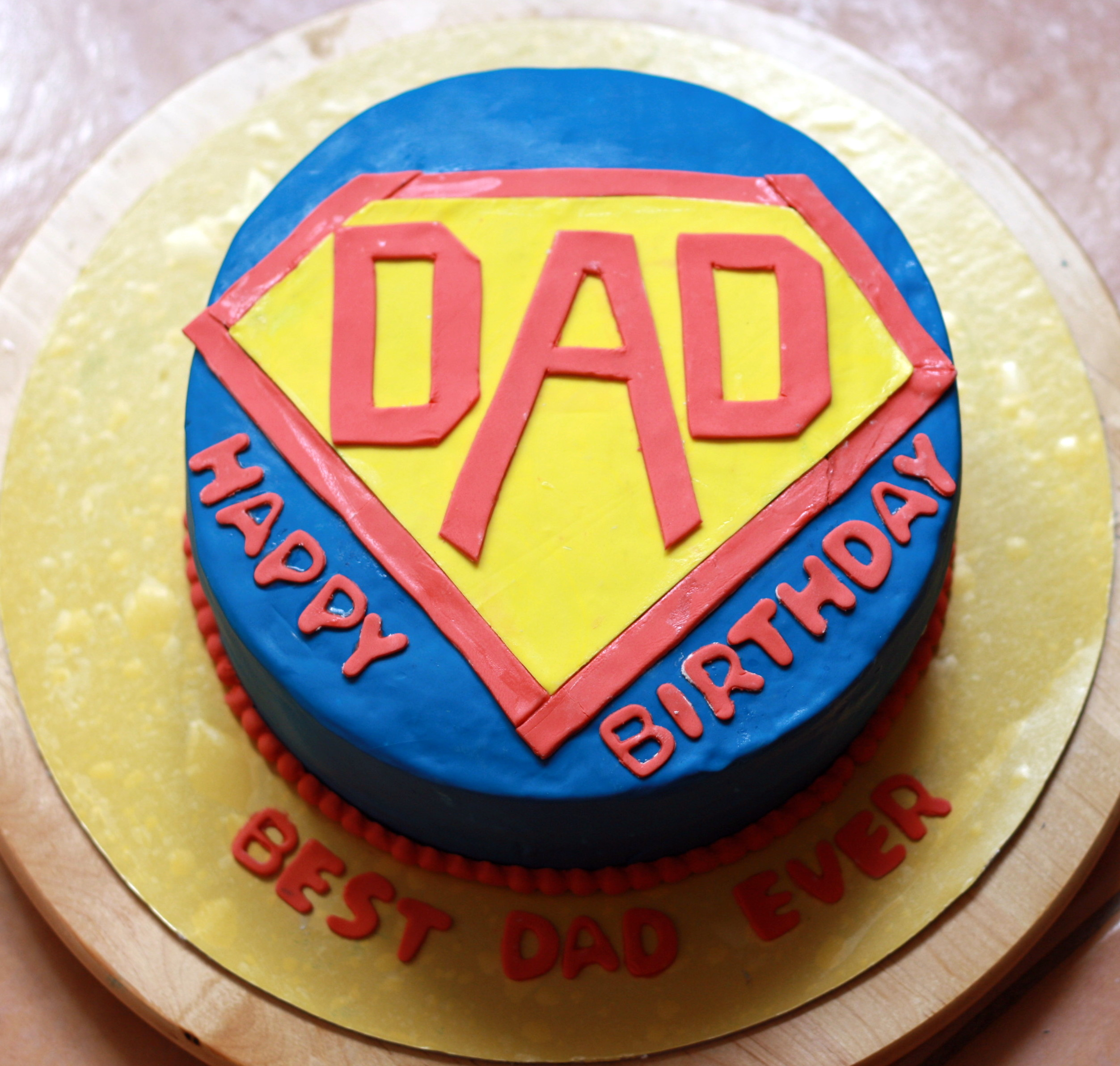 superman themed birthday cake for dad