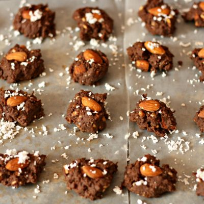 easy no-bake chocolate candy with almond and coconut recipe for kids