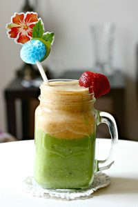 homemade two layer green smoothies